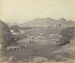 Ruins of Vijianuggur [Vijayanagara] near Humpee [Hampi]. The street of porticoes [Hampi Bazaar]